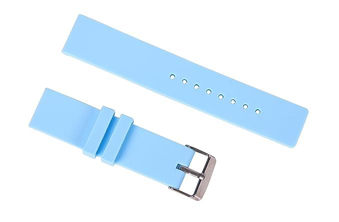 16mm reloj de goma de silicona de reemplazo de la correa bandas impermeables bastante buceo para reloj inteligente en azul claro: Amazon.es: Relojes