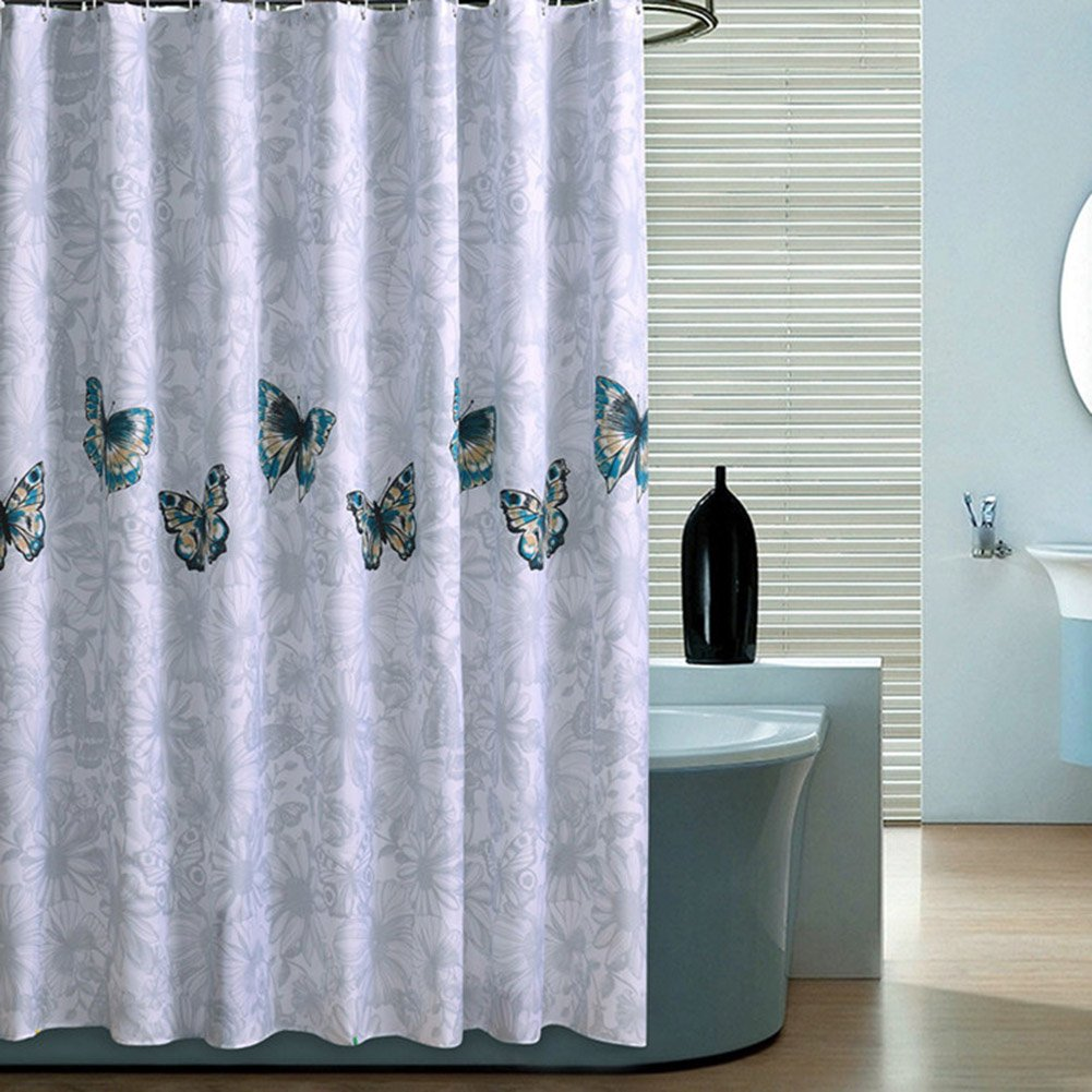 Amamcy Bathroom Long Shower Curtain Mildew Resistant Fabric Waterproof PEVA Hotel Quality,Mildew Resistant,Washable,Water Repellent with 12 Hooks Mold 72 x 72 inch
