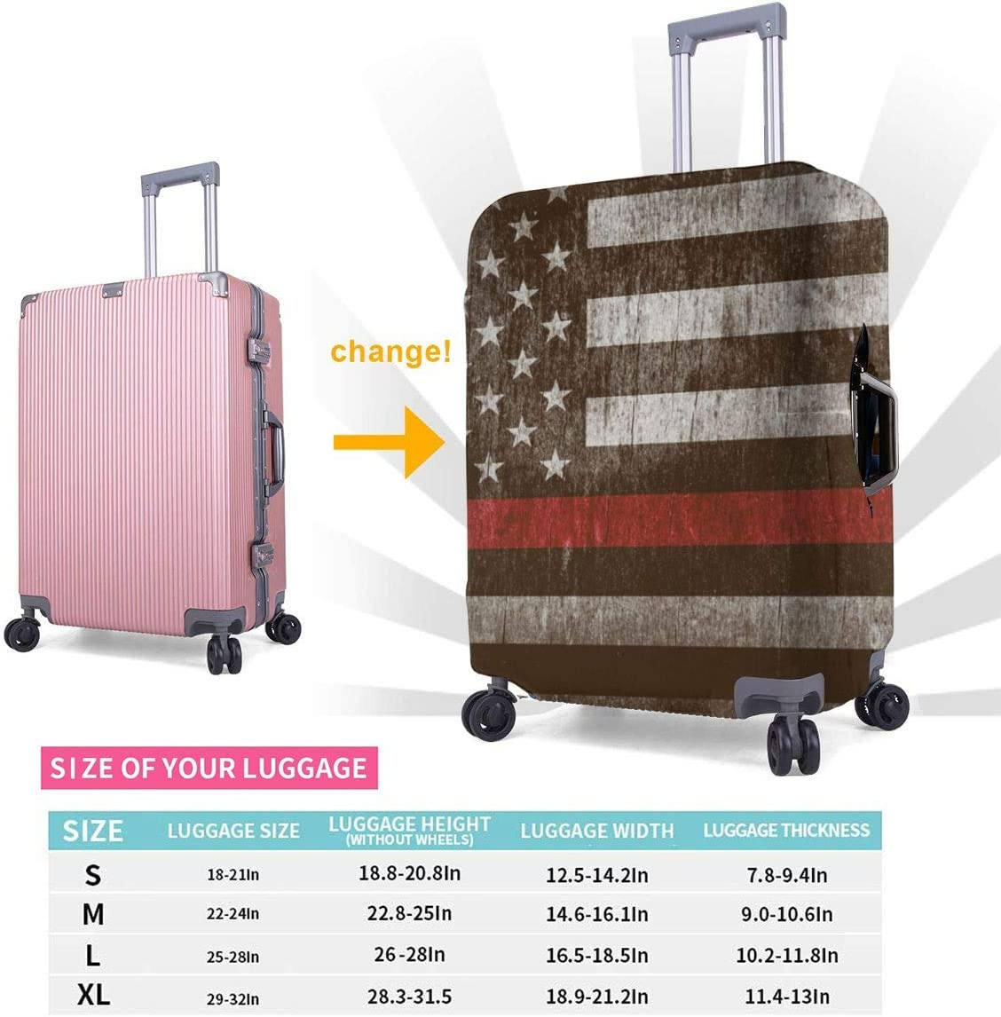 XL Fashion Luggage Covers Suitcase Protector Jacket Dust-proof Anti-thief Case S M L XL for 18-32 inch Luggage an Aged Textured Firefighter Support Flag with a Thin Blue Line