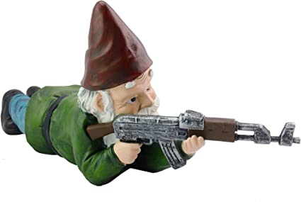 Military Garden Gnome With An Ak47 Funny Army Statue Perfect For Gun Lovers Military Collectors Combat Enthusiasts Army Men Indoor Outdoor Lawn Yard Decor Prone Traditional Amazon Co Uk Garden