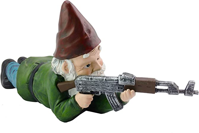 Perfect for Gun Lovers, Military Garden Gnome with an AK47Funny Army Statue