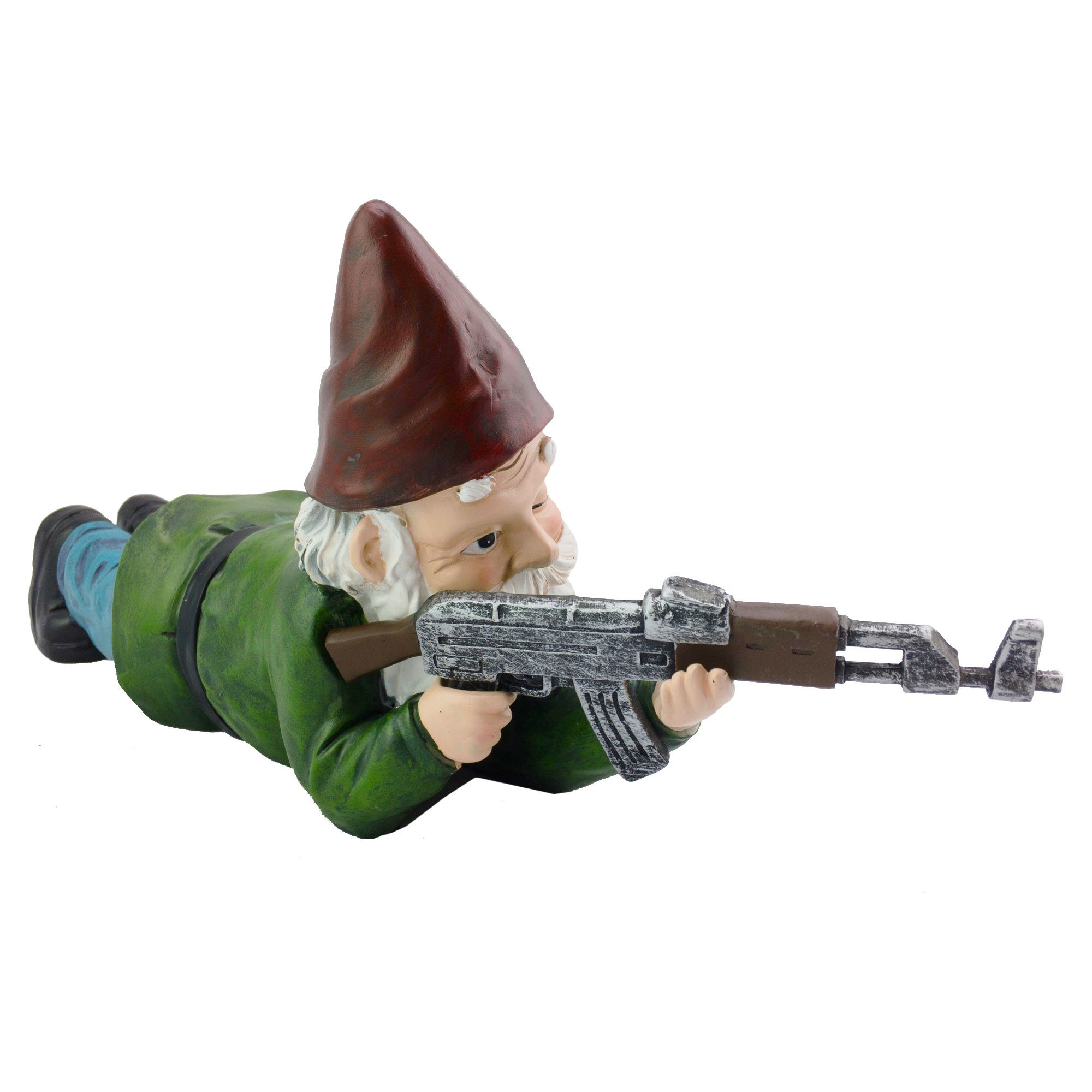 Military Garden Gnome with an AK47 | Funny Army Statue, Perfect for Gun Lovers, Military Collectors, Combat Enthusiasts & Army Men | Indoor & Outdoor Lawn Yard Decor (Prone, Traditional)