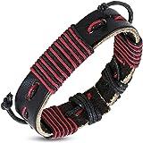 Zense - Bracelet homme ajustable en cuir véritable de couleur marron et brins de couleur rouge ZB0219