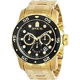 Invicta Relógio Masculino Pro Diver Scuba 48 mm Dourado Tom Aço Inoxidável Cronógrafo Quartzo, Dourado/Preto (Modelo: 0072)