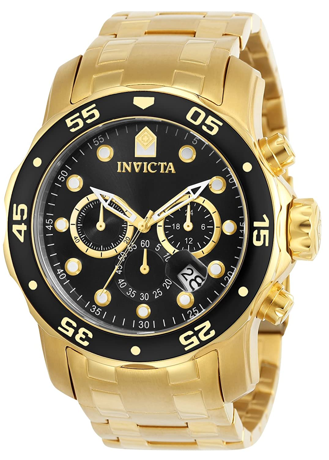 invicta watches shop amazon uk invicta men s pro diver quartz watch black dial chronograph display and gold plated bracelet 0072