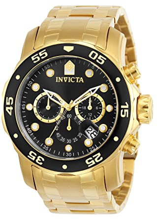 c739dacc9973 Invicta Men s 0072 Pro Diver Collection Chronograph 18k Gold-Plated Watch