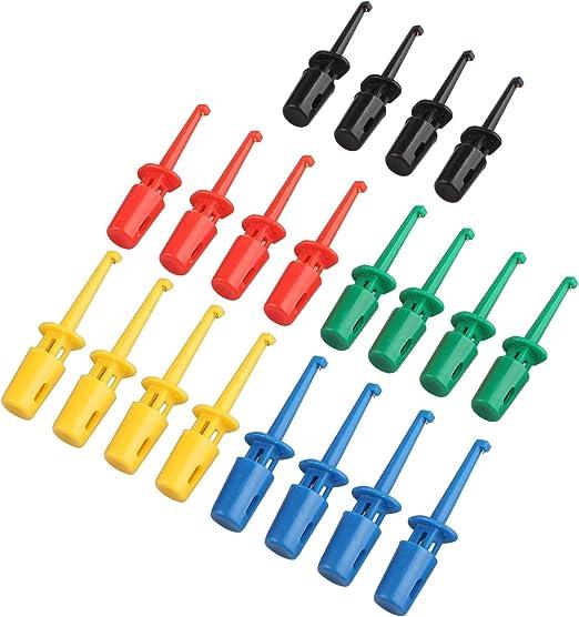 Haljia Krokodilklemme 20 Stück 5 Farben Bunt Elektrische Test Haken Messfühler Kabel Für Multimeter Drahtleitungs Set Auto