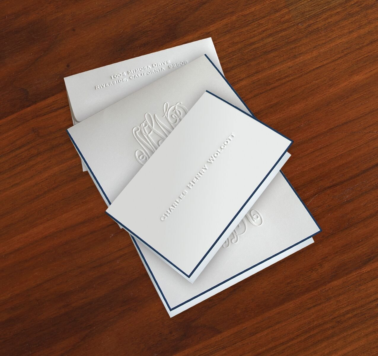 Navy Hand Bordered Embossed Fold Notes - 6228 by American Stationery