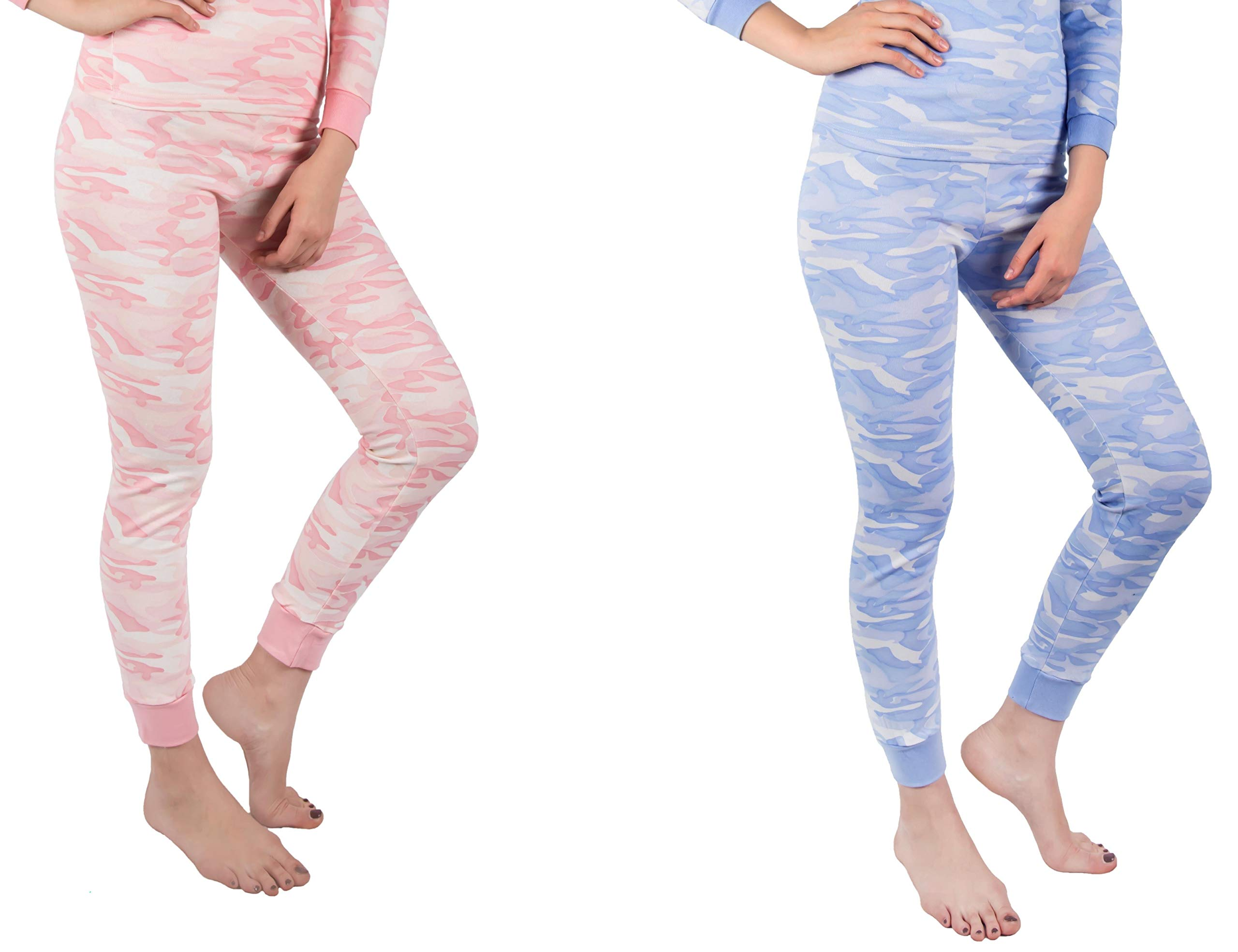 Andrew Scott Women's 2 Pack Long Thermal Fleece Cotton Legging Pants (X-Large, 2 Pack- Pink/Blue Camo Print)