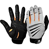 Bionic Gloves Men's Premium Full Finger Fitness Gloves w/ Natural Fit Technology, Gray/Orange (PAIR)!