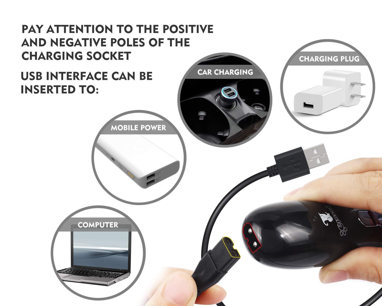 Pecute Krallenschleifer für Hunde und Katzen, mit 3 Schleif Ports 2 Geschwindigkeitseinstellung USB-Anschluß (Schwarz)