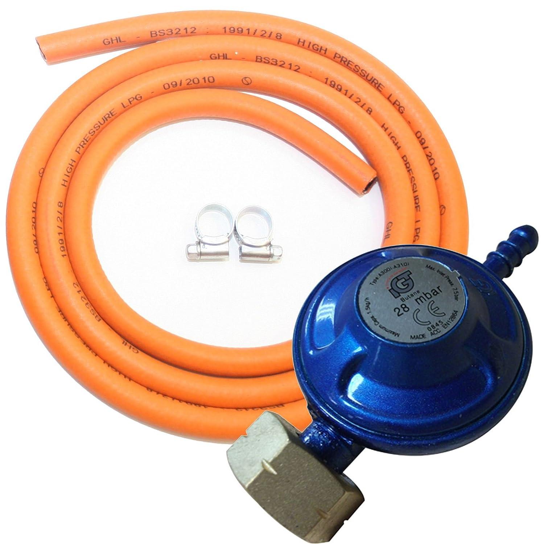 Kit regulador de butano Estufa barbacoa completa Gas manguera Clips calentador estufa: Amazon.es: Deportes y aire libre