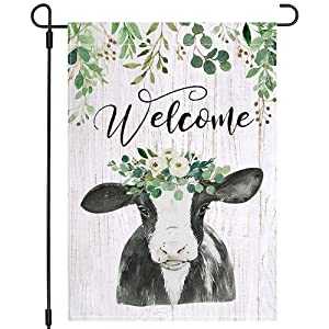 PANDICORN Spring Summer Garden Flag 12×18 Inch Double Sided, Rustic Country Cow Greenery Floral Flower, Small Vertical Farmhouse Welcome Seasonal Garden Decor for Outside Yard