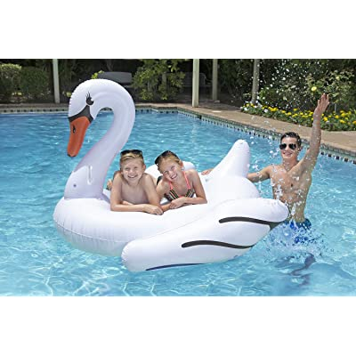 Poolmaster Jumbo Swimming Pool Float Rider, Swan: Toys & Games