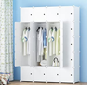MEGAFUTURE Portable Wardrobe for Hanging Clothes, Combination Armoire, Modular Cabinet for Space Saving, Ideal Storage Organizer Cube for Toys, Towels, Books.(20-Cube)