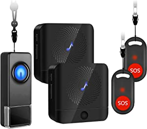 Wireless Caregiver Pager SOS Button - BISTEE Personal Smart Call System SOS Call Buttons/Transmitters & Receivers, Nurse Calling Alert Patient Help System for Home/Elderly