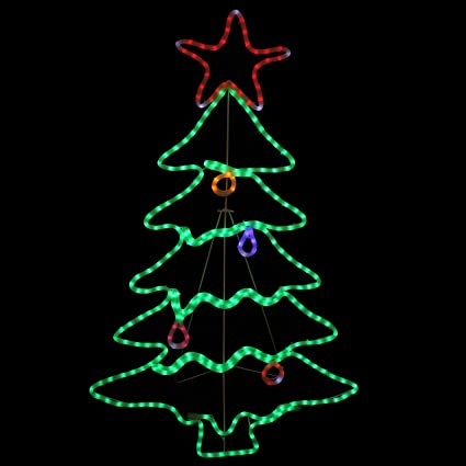Amazoncom Sunnydaze Decor Led Rope Light Christmas Tree Decoration