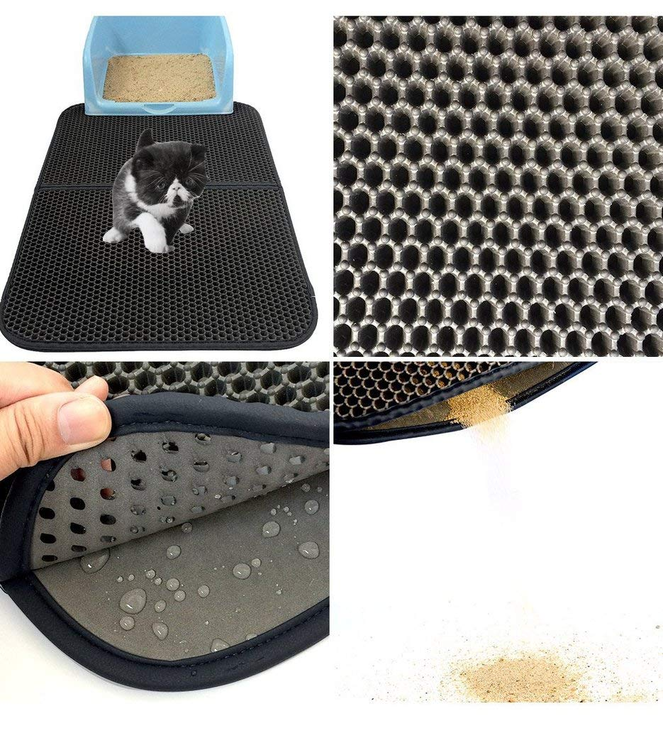 Deasengmint Washable Eva Cat Litter Mat Black Foldable Waterproof Double-Layer Cat Bed