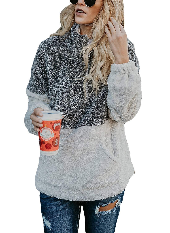 Ouregrace Womens Zip Neck Oversized Color Block Fleece Sweatshirt Pullover Top Outwear (S-XXL) USOG-1273