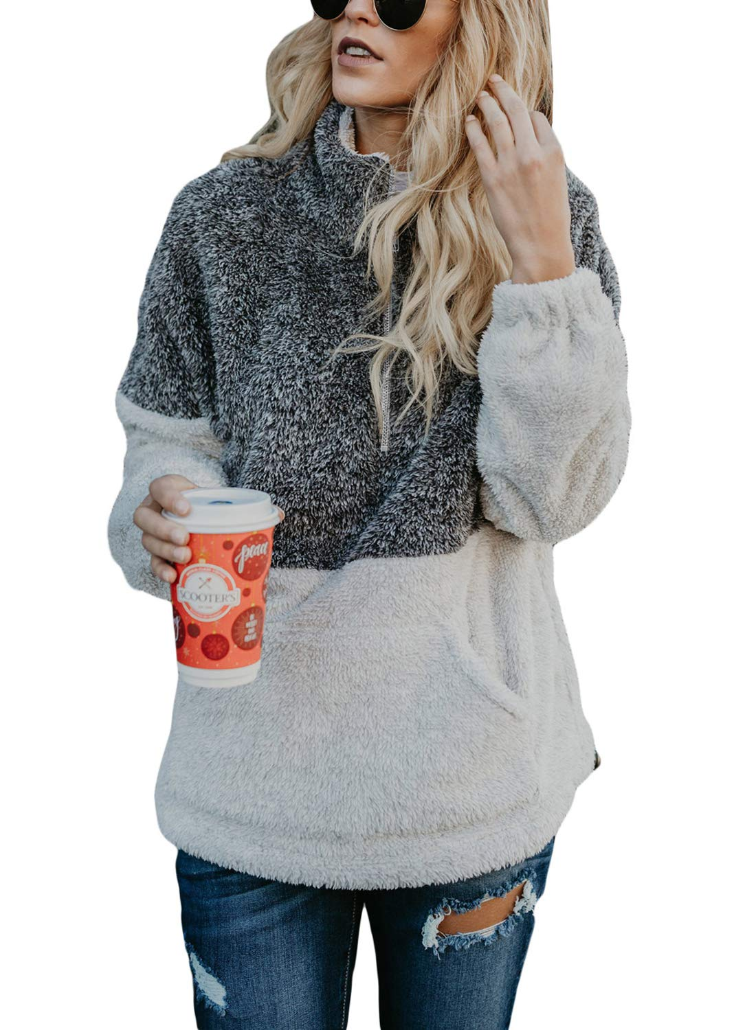 Dokotoo Womens Hoodies Cozy Loose Casual Winter Oversized Soft Fluffy Fleece Sweatshirt Pullover with Pockets Outwear Grey Small