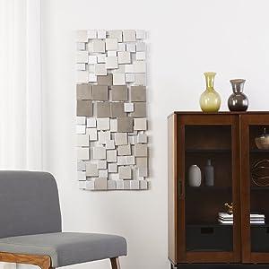 SEI Furniture Wavson Wall Sculpture - Geometric 3D Design - Unique Mounting Wall Art