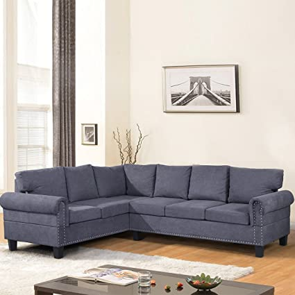 Harper&Bright Designs L-Shaped 2 Piece Sectional Sofa Set with Nail  Decorate (Grey)