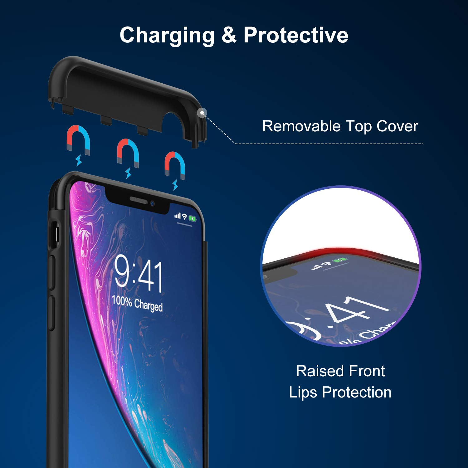 Battery Case for iPhone XR, 5000mAh Charging Case Protective Charger Case for iPhone XR (Black) by Lonlif (Image #4)
