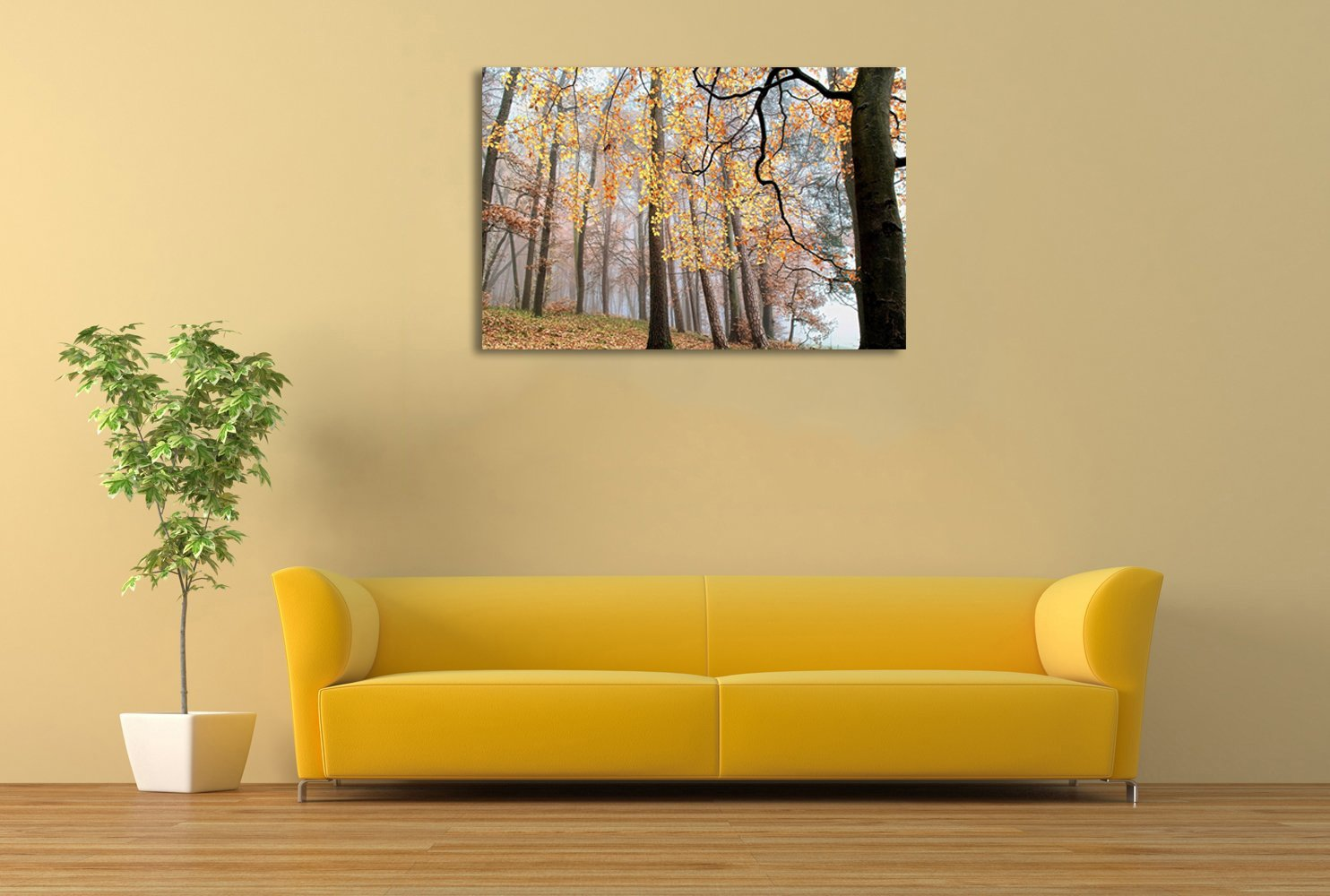 Amazon.com: Modern Wall Art Painting On Canvas Prints Autumn forest ...