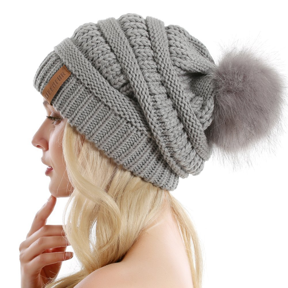6c4c2ea0f48 Queenfur Knit Slouchy Beanie for Women Thick Baggy Hat Faux Fur Pompom  Winter Hat product image