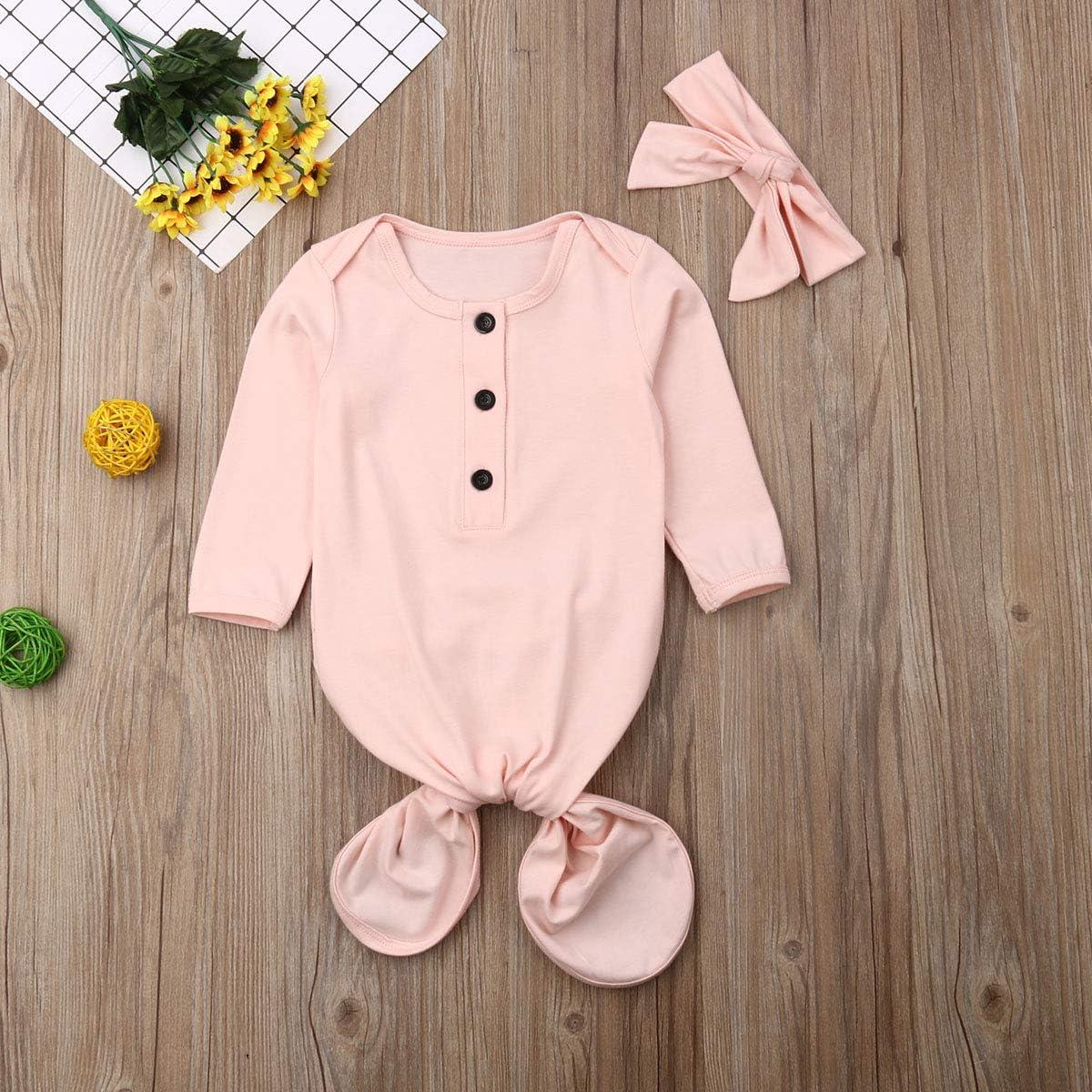 GuliriFei Unisex Newborn Baby Sleepwear Nightgown Striped Cotton Sleeper Gowns Long Knotted Sleeping Bag