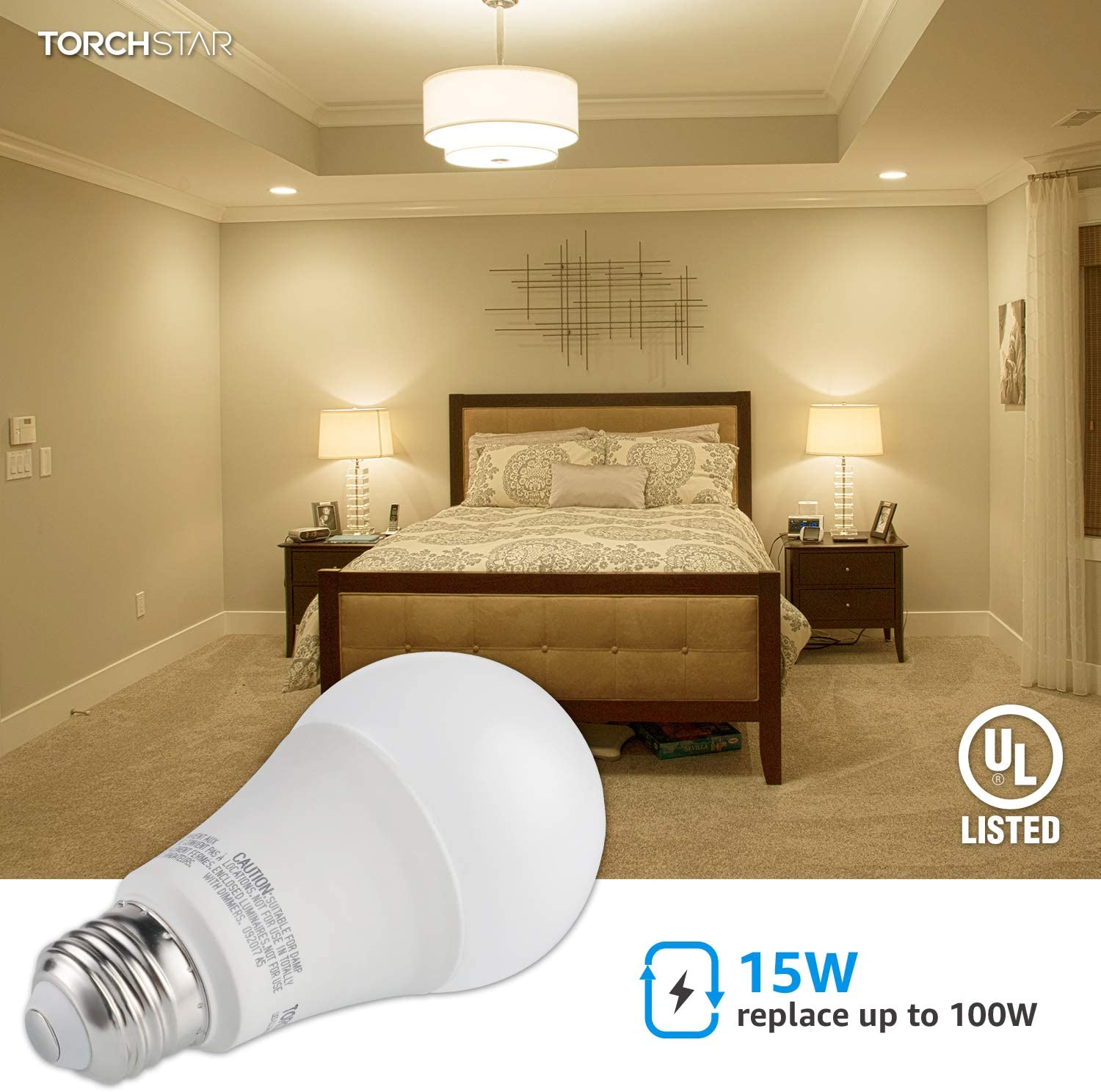 1600 Lumens Ultra-Bright 5000K Daylight Standard E26 Medium Base Pack of 4 100W Equivalent LED A19 Light Bulb Damp Location Rated TORCHSTAR Garage Door Opener LED Bulb UL-Listed Non-Dimmable
