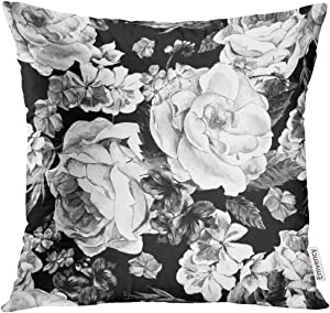 Emvency Throw Pillow Cover Black and White with Floral Bouquet of Roses Daisy Blue Wild Flowers in Vintage Style Watercolor Decorative Pillow Case Home Decor Square 16x16 Inches Pillowcase