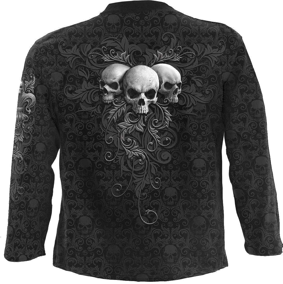 Skull Scroll Scroll Impression Longsleeve T-Shirt Black Spiral