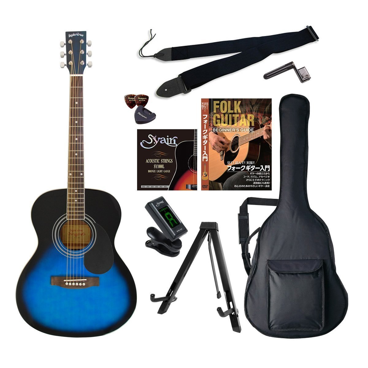 SepiaCrue(セピアクルー) 初心者入門10点セット アコースティックギター エントリーセット FG-10/BLS ブルーサンバースト B01H51DSKU ブルーサンバースト ブルーサンバースト