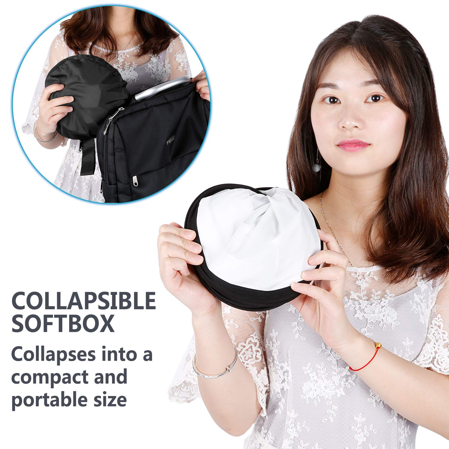 Inner 5.6x6.8 inches Outer 16x6.9 inches with Strap Attachment and Carrying Bag for Photo Studio Portrait Video Shooting Neewer Collapsible Softbox Diffuser for 660 LED Panel