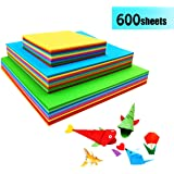 Coloured Paper - 600 Sheets Square Origami Paper Double Sided Craft Art Paper for DIY Handcrafts