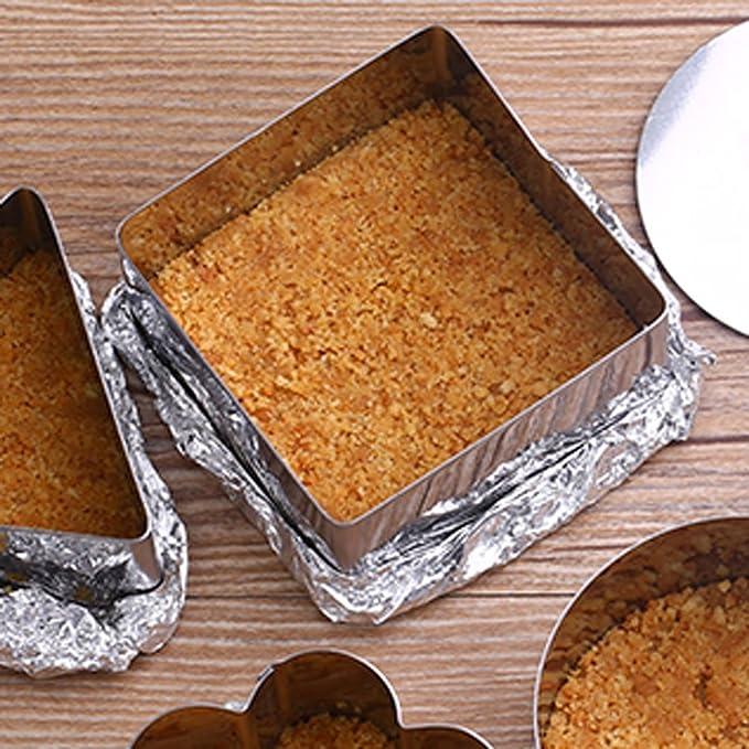 Amazon.com: eDealMax cuadrado del acero inoxidable del hogar galleta de la torta de la galleta del molde del molde de horneado de 10 PC: Kitchen & Dining