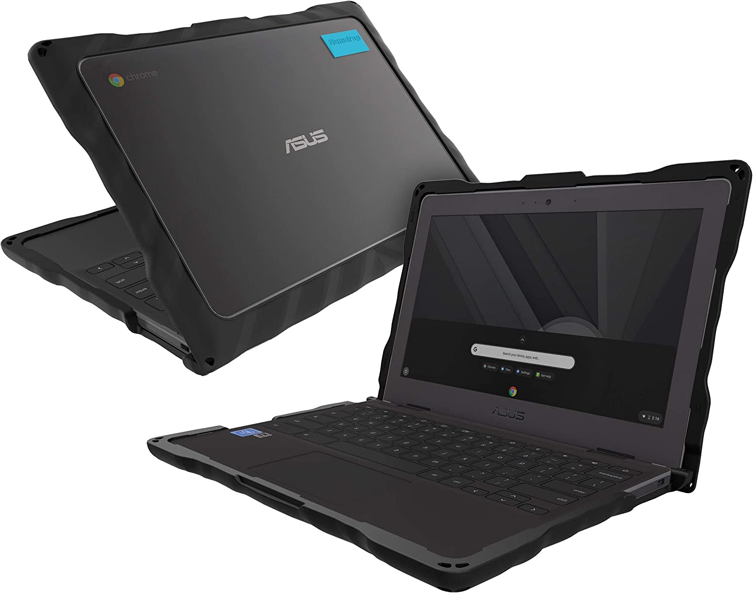 GumDrop DropTech Case Designed for ASUS Chromebook C204 EE Laptop - Black, Rugged, School-Ready, Shock Absorbing, Extreme Drop Protection