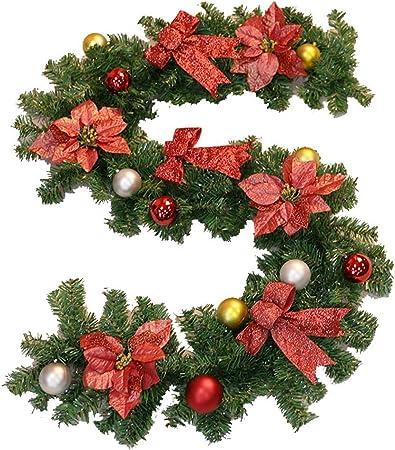 guirnalda NLIAN Navidad Artificial de 270 cm, con Flores navideñas / 6 Lazos Rojos / 18 Bolas navideñas for Decoraciones Festivas de Navidad Escaleras Chimeneas Artificial: Amazon.es: Hogar