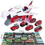 Car Toys Set with Transport Cargo Airplane, Educational Vehicles Fire Fighting Car Set for Kids Toddlers Child Gift for 3 4 5