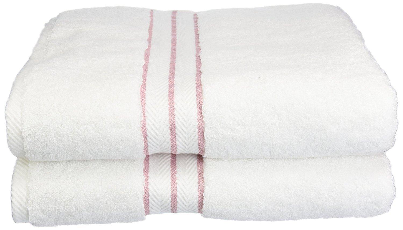 White Tea pink Bath Towel Set Superior Hotel Collection 900 Gram, Long-Staple Combed Cotton 6 Piece Towel Set, White with Black Border