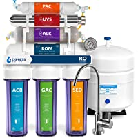Express Water Sistema de filtración de agua de ósmosis inversa UV – Filtro de agua UV de 11 etapas con grifo cromado…