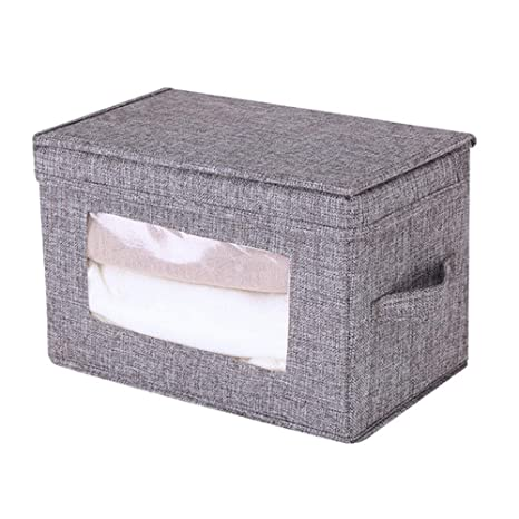 Cajas de Almacenaje Cubos de Tela Caja de Almacenamiento de Armario de Ropa Plegable con Tapa