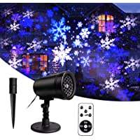 LED Snow Projector, Christmas Projector Snowfall Effect, Outdoor and Indoor Projection Lamps with Remote Control, Waterproof IP65(IP44 for Plug), Party Decoration, Wedding, Party, Festival, Garden