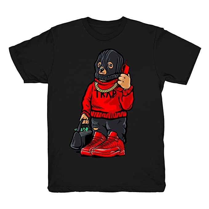 434b33bdfd11d Gym Red 12 Trap Bear Shirt to Match Jordan 12 Gym Sneakers Black t-Shirts