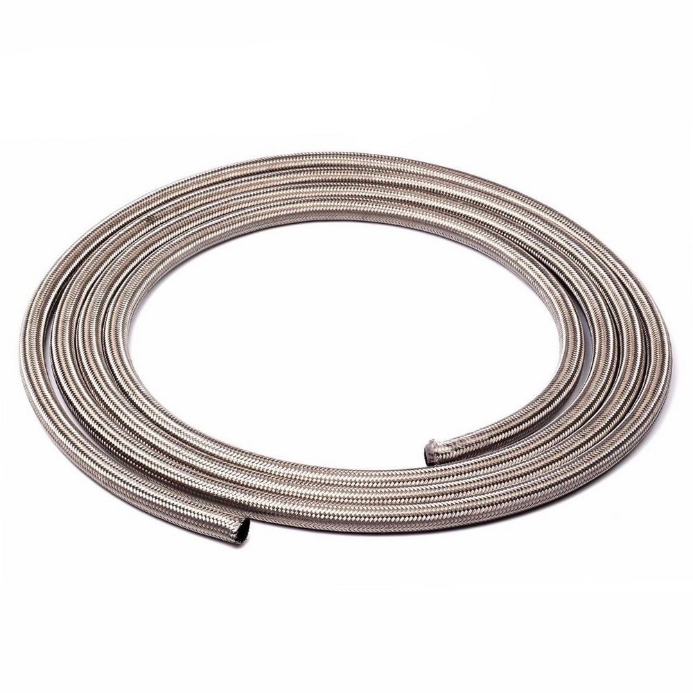 SUNROAD 6AN 15Ft Universal Stainless Steel/Nylon Braided Fuel Oil Line Hose-Silver