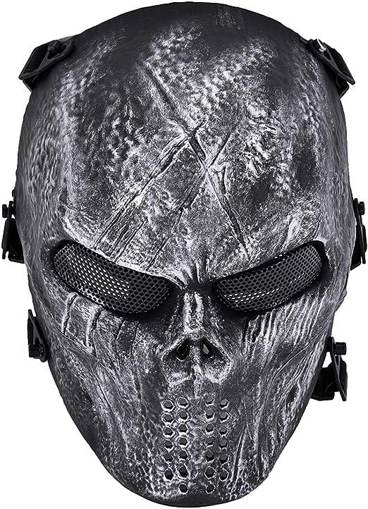 Unique Outdoor Airsoft Paintball Bb Gun Game Face Mask Face Guard Silver