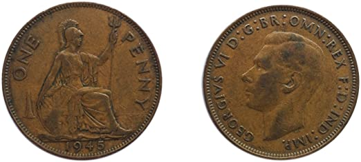 1945  British English One Penny