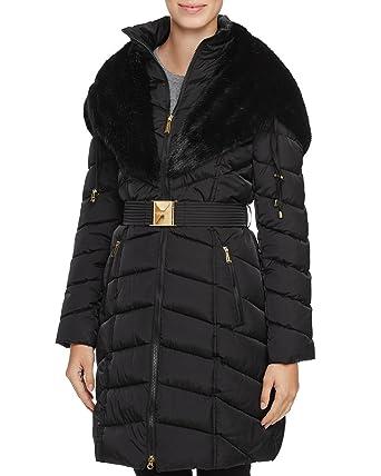 51b2799c967 Laundry by Shelli Segal Faux-Fur-Trim Belted Down Hood Puffer Coat Jacket  Black