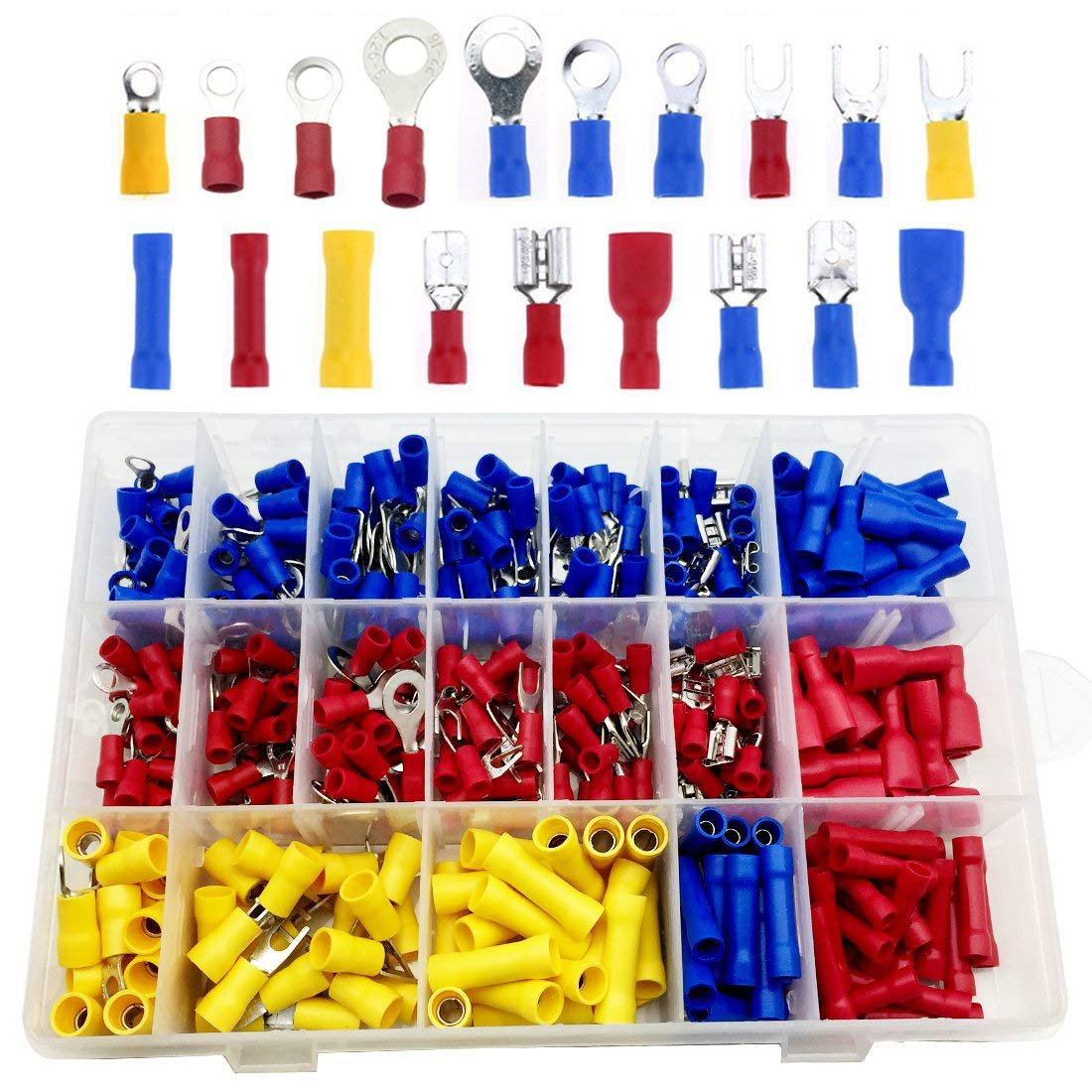 CR150514E130 22-16 | 16-14 | 12-10 Gauge Male Spade Fork Ring Solderless Crimp Connectors Terminals Assortment Kit CO RODE 380Pcs Quick Disconnect Electrical Insulated Butt Female